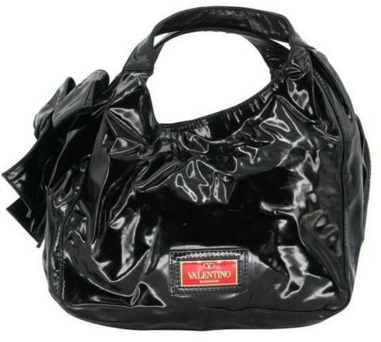 Valentino Leather Patent Bow Chic Elegant Hobo Bag Image 6