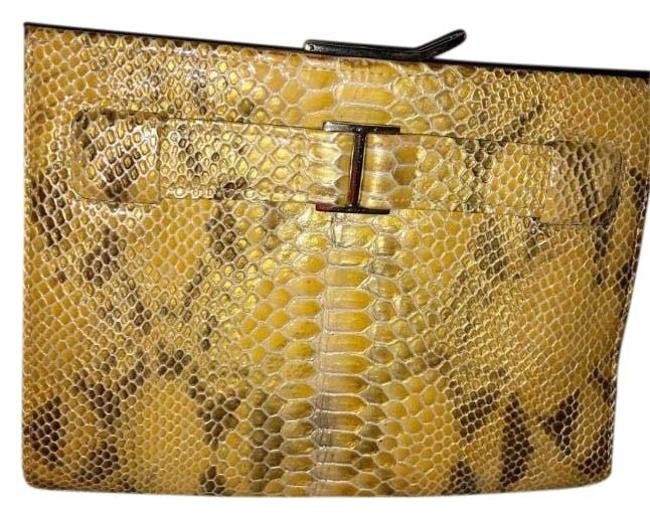 Item - Skin Yellow Multicolor Leather Clutch