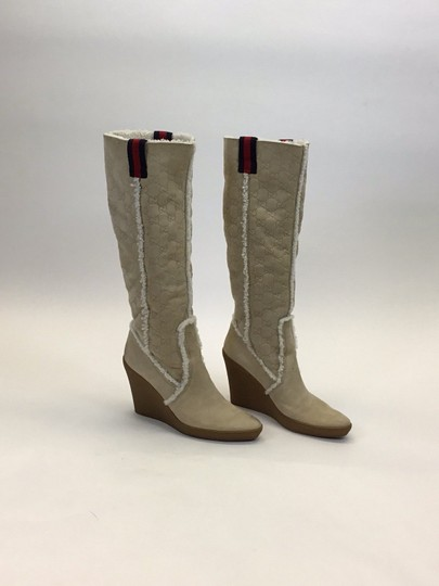 Gucci Light Tan, Red, Navy Boots Image 3