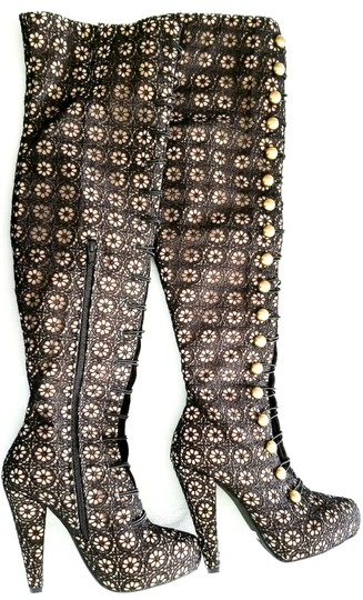 Jeffrey Campbell Over The Knee Knee High Lace Black, Tan Boots Image 1