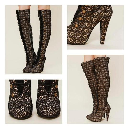 Jeffrey Campbell Over The Knee Knee High Lace Black, Tan Boots Image 3