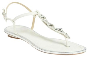 B Brian Atwood Flat Thong Ankle Strap white Sandals