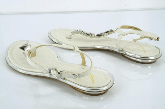 B Brian Atwood Flat Thong Ankle Strap white Sandals Image 1