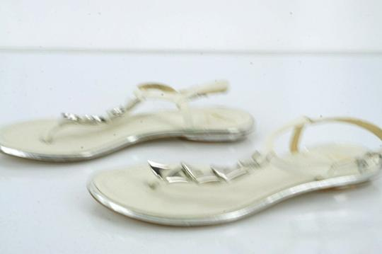 B Brian Atwood Flat Thong Ankle Strap white Sandals Image 4