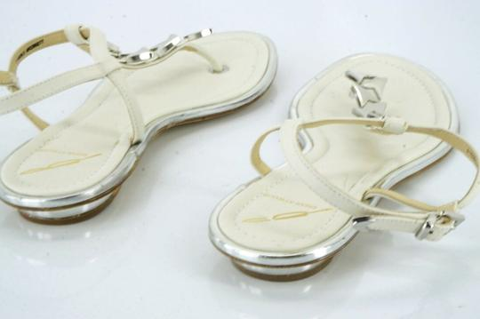 B Brian Atwood Flat Thong Ankle Strap white Sandals Image 8