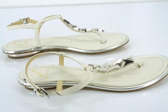 B Brian Atwood Flat Thong Ankle Strap white Sandals Image 9