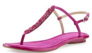 B Brian Atwood Flat Thong Ankle Strap Pink Sandals