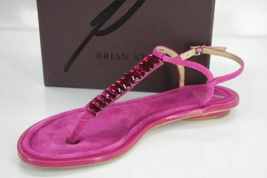 B Brian Atwood Flat Thong Ankle Strap Pink Sandals Image 1