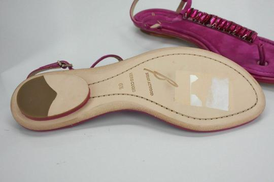 B Brian Atwood Flat Thong Ankle Strap Pink Sandals Image 7