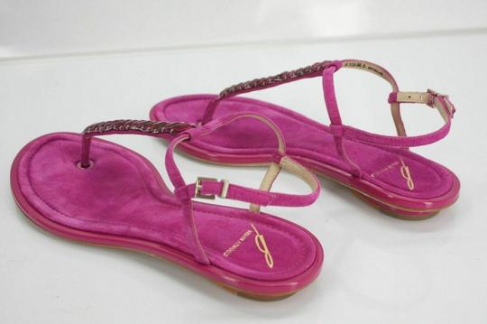 B Brian Atwood Flat Thong Ankle Strap Pink Sandals Image 9