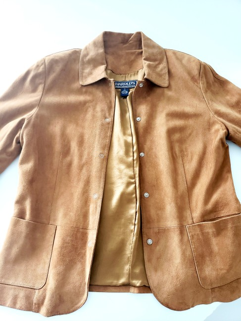 Harold's Casual Suede Two-tone Tan Leather Jacket Image 2