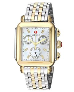 Michele Deco Two Tone Stainless Mother of Pearl Diamond Dial MWW06P000122