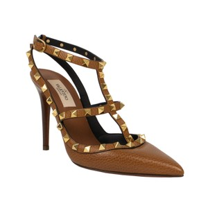 Valentino Leather Ankle Strap Studded Pointed Toe Brown Pumps
