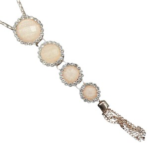 Other Round Crystal Resin Long Tassel Necklace Cream