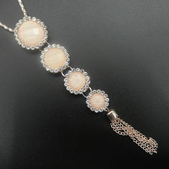 Other Round Crystal Resin Long Tassel Necklace Cream Image 2