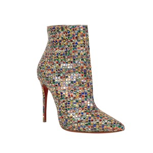 Christian Louboutin Mosaic Pointed Toe Tweed Stiletto Colorful Multi-Color Boots