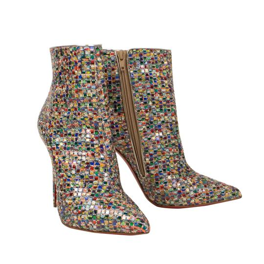 Christian Louboutin Mosaic Pointed Toe Tweed Stiletto Colorful Multi-Color Boots Image 1