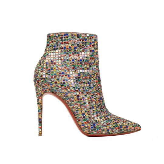 Christian Louboutin Mosaic Pointed Toe Tweed Stiletto Colorful Multi-Color Boots Image 2