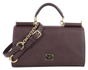 Dolce&Gabbana Dolce & Gabbana Miss Sicily Leather Satchel in Purple