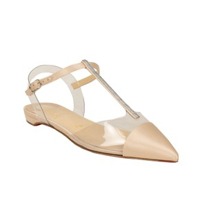 Christian Louboutin Satin Embellished Crystal Pointed Toe Buckle Nude Flats