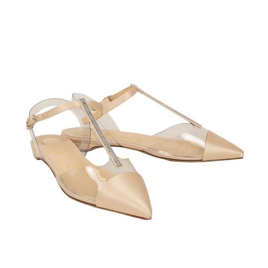 Christian Louboutin Satin Embellished Crystal Pointed Toe Buckle Nude Flats Image 1