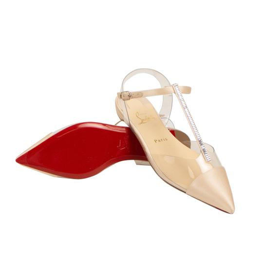 Christian Louboutin Satin Embellished Crystal Pointed Toe Buckle Nude Flats Image 2