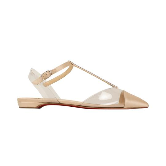 Christian Louboutin Satin Embellished Crystal Pointed Toe Buckle Nude Flats Image 3