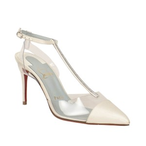 Christian Louboutin Satin Crystal Pointed Toe Embellished White Pumps