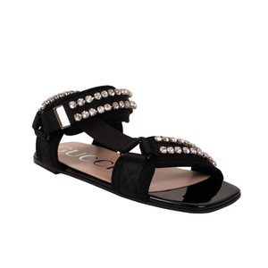 Gucci Leather Crystal Open Toe Summer Black Sandals