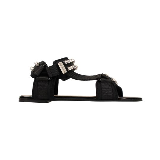 Gucci Leather Crystal Open Toe Summer Black Sandals Image 2