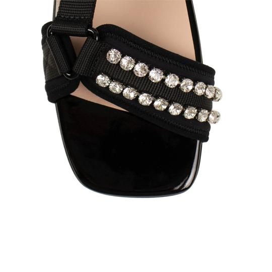 Gucci Leather Crystal Open Toe Summer Black Sandals Image 4