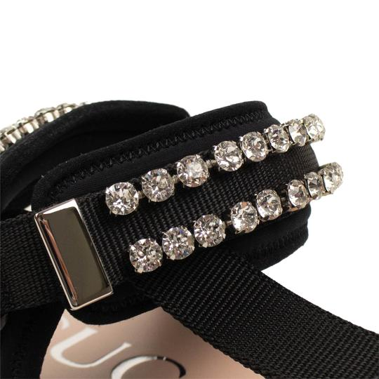Gucci Leather Crystal Open Toe Summer Black Sandals Image 5