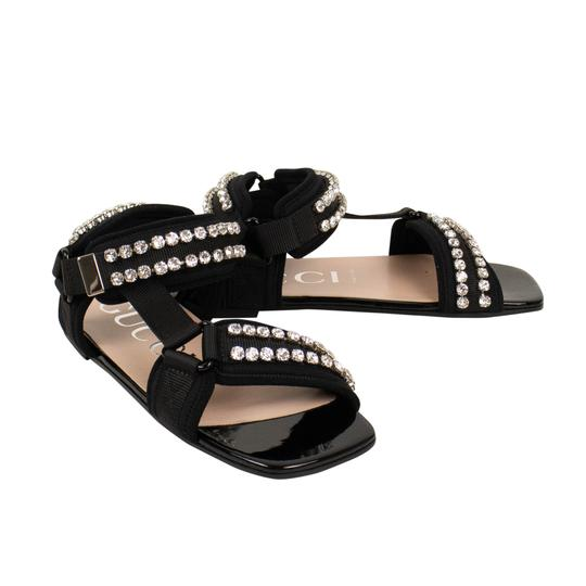 Gucci Leather Crystal Open Toe Summer Black Sandals Image 1