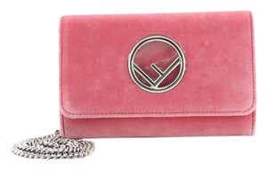Fendi Chain Velvet Pink Clutch