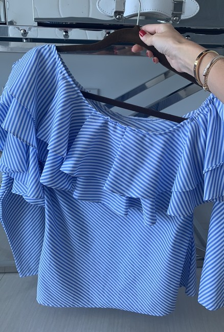 Mix And Match Boutique Top white and blue Image 2
