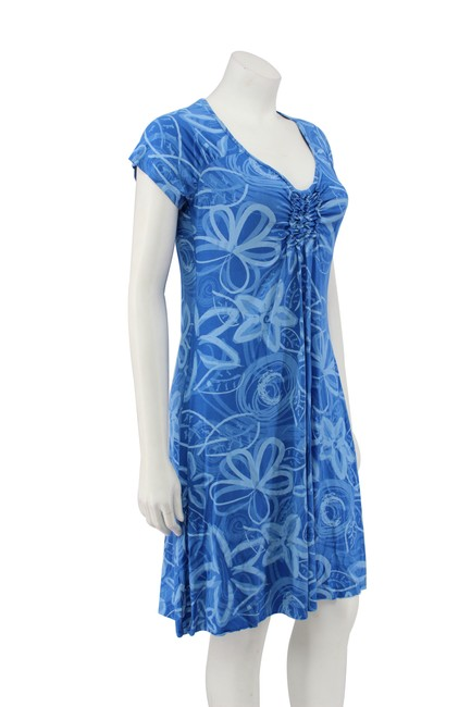 Fresh Produce short dress Blue Floral Rayon Ruching A-line on Tradesy Image 1