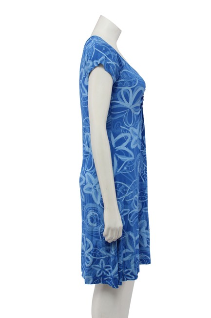 Fresh Produce short dress Blue Floral Rayon Ruching A-line on Tradesy Image 2