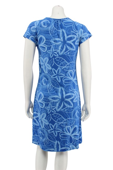Fresh Produce short dress Blue Floral Rayon Ruching A-line on Tradesy Image 3