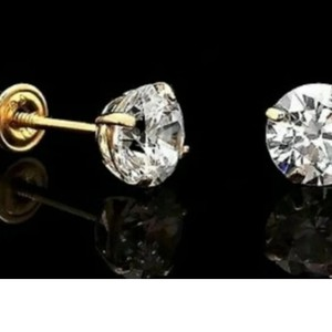 Unbranded 10kt Yellow Gold 4mm Brilliant CZ Screwback Stud Earrings