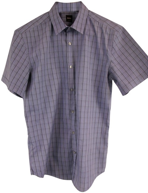 Preload https://img-static.tradesy.com/item/25872782/hugo-boss-blue-l-men-s-cotton-slim-fit-short-sleeve-plaid-shirt-button-down-top-size-12-l-0-1-650-650.jpg