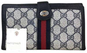 Gucci Navy Blue Coated Canvas Vintage GG Web Red Blue Stripe Fold Wallet