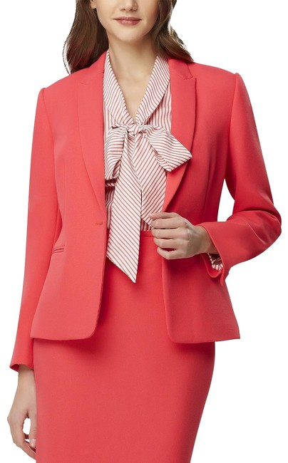 Item - Coral Pink Asl Single-button Textured Peak-lapel Blazer Size 4 (S)