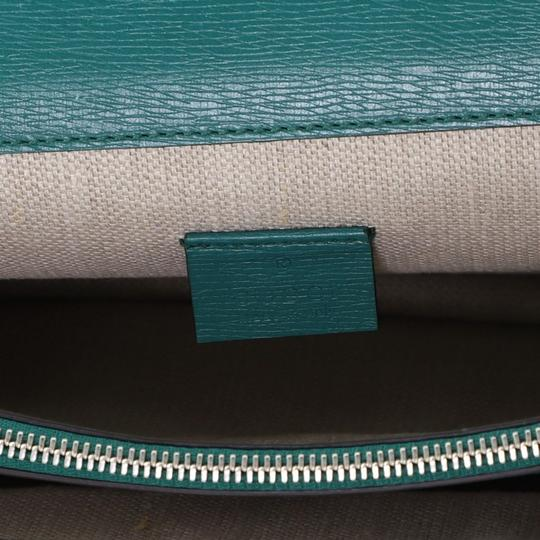 Gucci Leather Satchel in Green Image 8