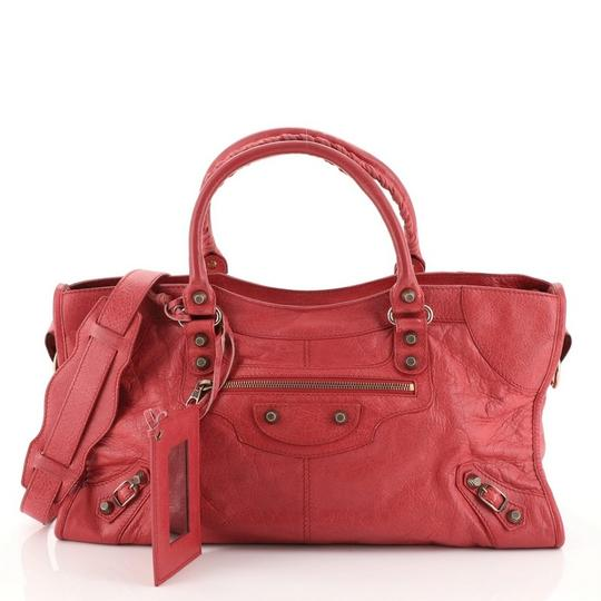 Balenciaga Leather Satchel in Pink Image 1