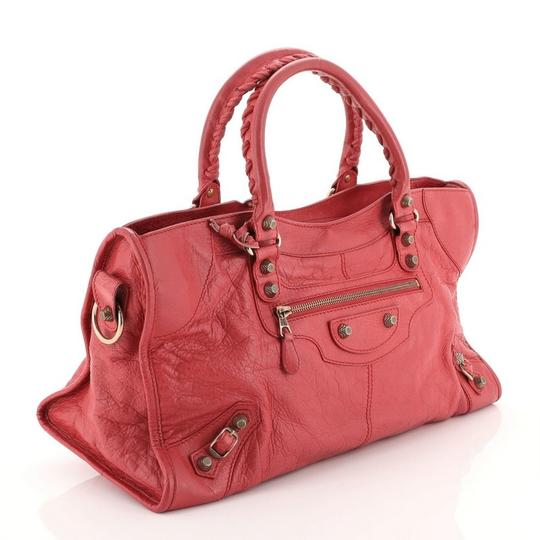 Balenciaga Leather Satchel in Pink Image 2