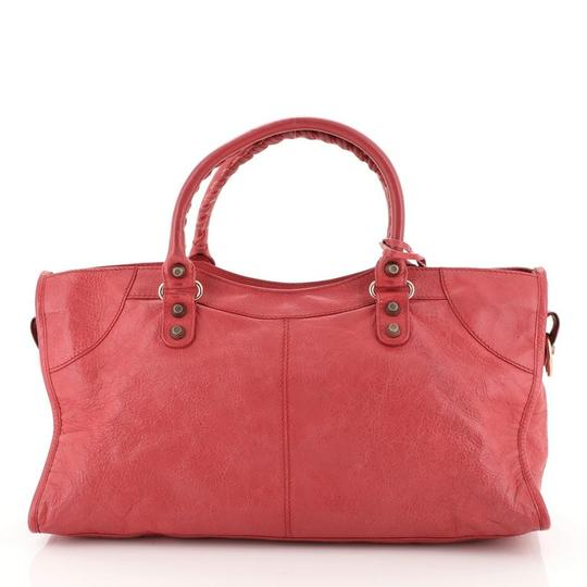 Balenciaga Leather Satchel in Pink Image 3