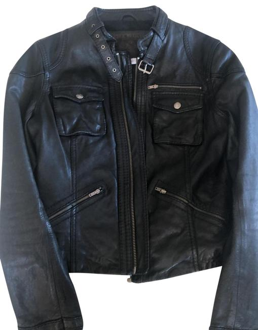 Item - Black Leather Moto Jacket Size 8 (M)