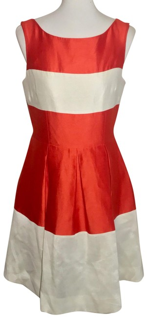 Item - Red White Cream Silk Creme Color Block Fir Flare Knee Length Mid-length Cocktail Dress Size 8 (M)
