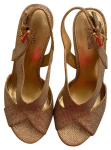 MICHAEL Michael Kors Metalic Party Special Occasion Prom Gold Pumps