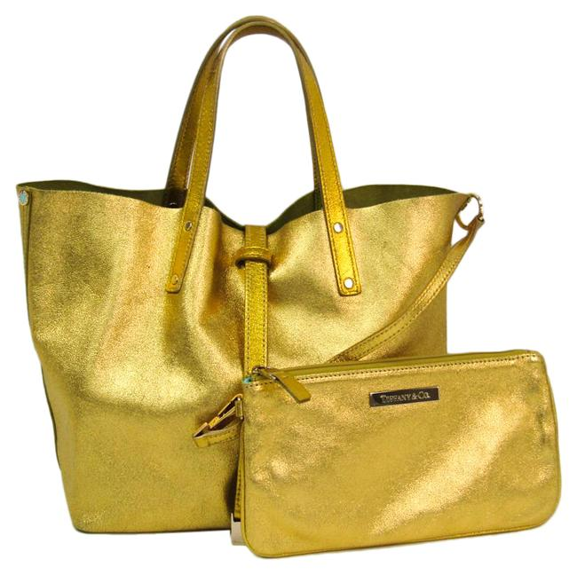Item - Reversible Women's Handbag Metallic Gold / Yellow Suede / Leather Satchel